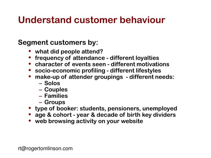 understanding customer behavior Understanding your customers the three main ways to understand your customers so you can deliver top-class customer service.