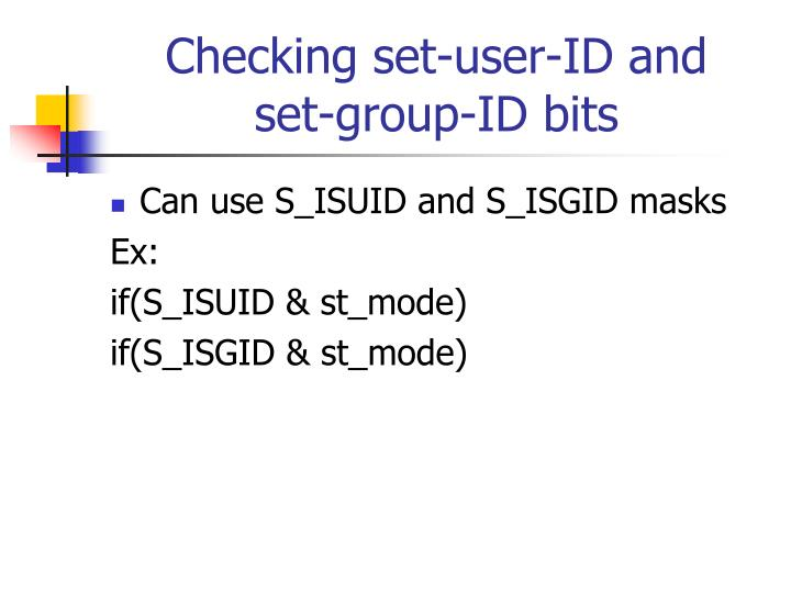 Checking set-user-ID and