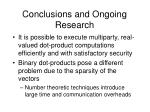 conclusions and ongoing research