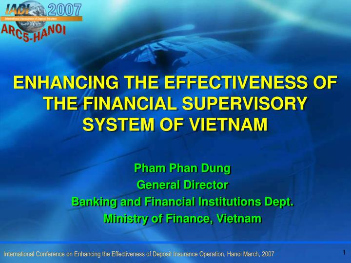 enhancing the effectiveness of the financial supervisory system of vietnam n.