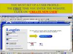 you must set up a user profile the first time you enter the website click on create new user