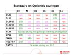 standaard en optionele sturingen