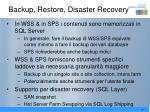 backup restore disaster recovery