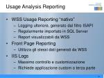 usage analysis reporting