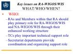key issues on ra wigos wis what who when1