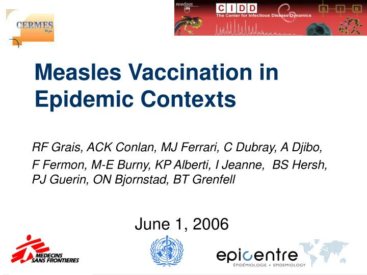 measles vaccination in epidemic contexts n.
