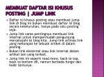 membuat daftar isi khusus posting jump link