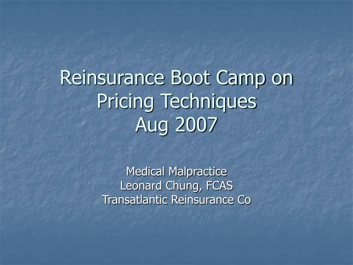 reinsurance boot camp on pricing techniques aug 2007 n.