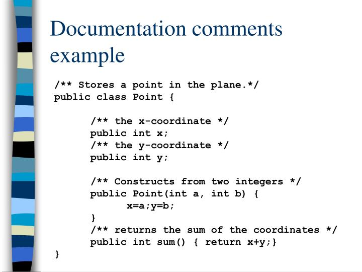Documentation comments example