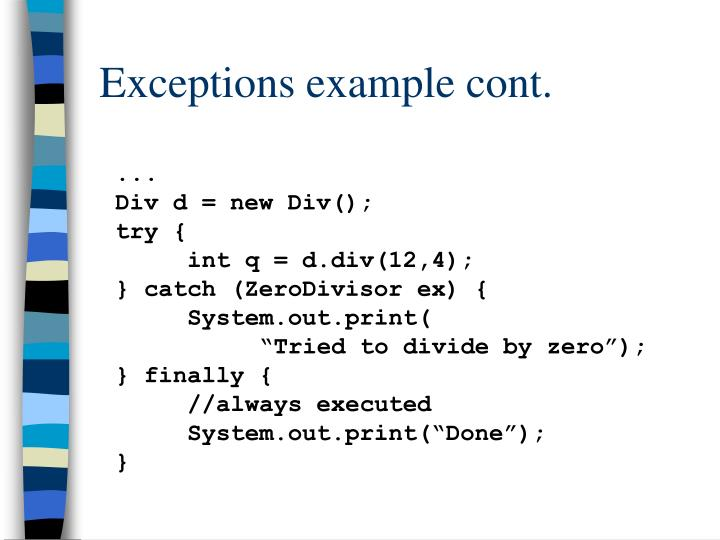 Exceptions example cont.