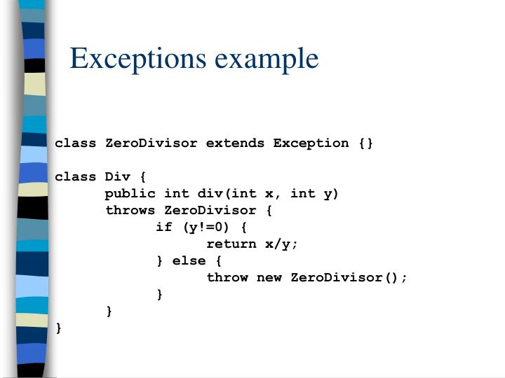 Exceptions example