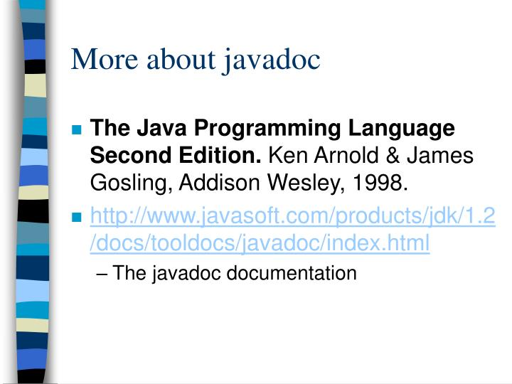 More about javadoc