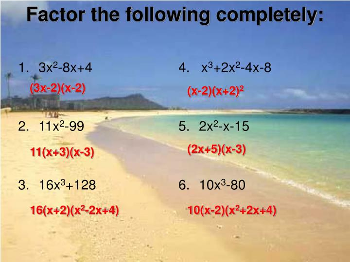 factor the following completely n.