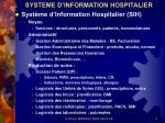 systeme d information hospitalier