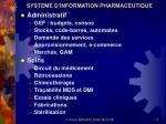 systeme d information pharmaceutique