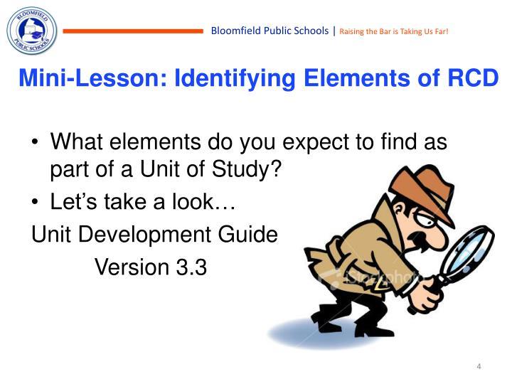 Mini-Lesson: Identifying Elements of RCD
