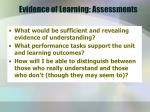 evidence of learning assessments