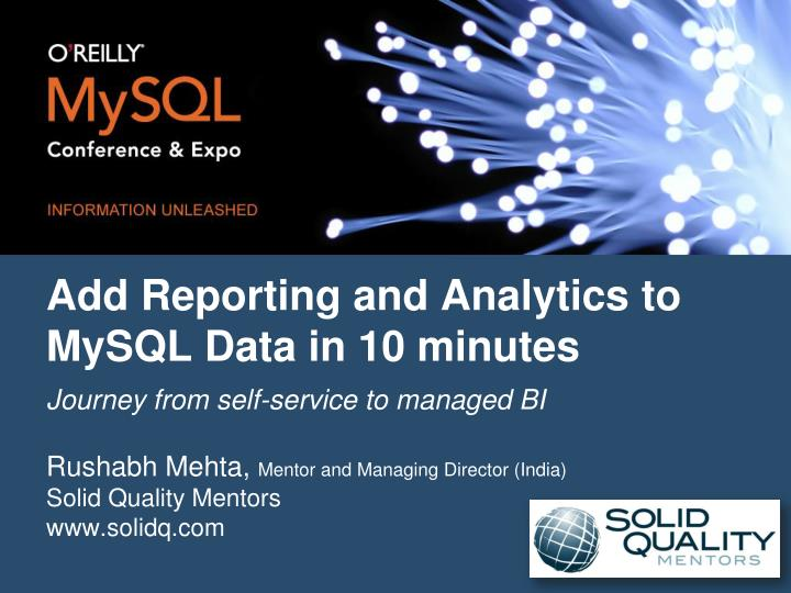 add reporting and analytics to mysql data in 10 minutes n.