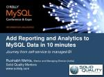add reporting and analytics to mysql data in 10 minutes