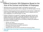 federal contractor 503 obligations based on the size of the contract and number of employees