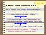 an inference system for deduction of mds