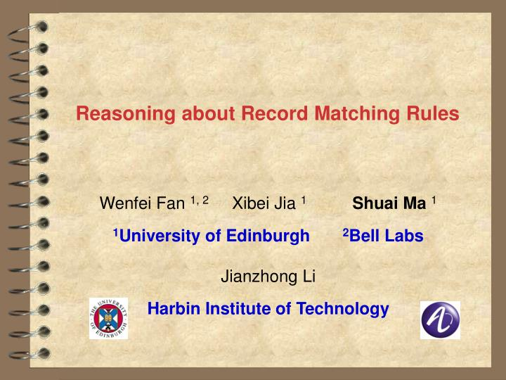 reasoning about record matching rules n.