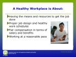 a healthy workplace is about