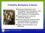 a healthy workplace is about1