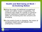 health and well being at work an evolving notion