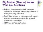 big brother pharma knows what you are doing