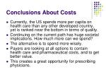 conclusions about costs