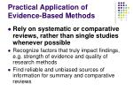 practical application of evidence based methods1