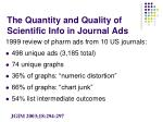 the quantity and quality of scientific info in journal ads