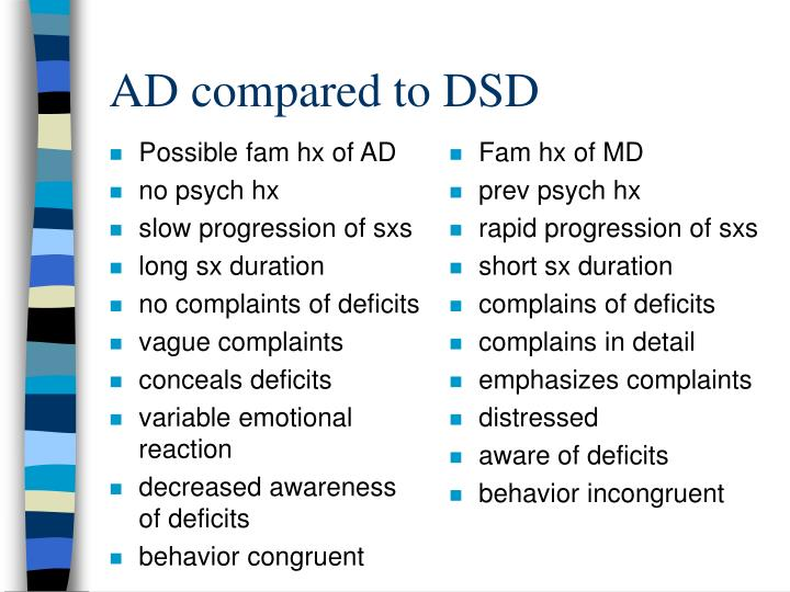ad compared to dsd n.