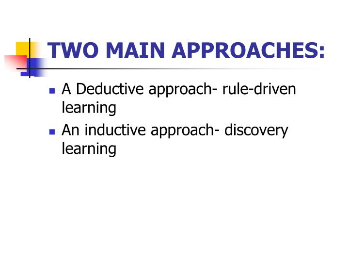 research approach inductive Inductive reasoning (in contrast to deductive reasoning and abductive reasoning) is a method of reasoning in which the premises are viewed as supplying some evidence for the truth of the conclusion while the conclusion of a deductive argument is certain, the truth of the conclusion of an inductive argument may be probable , based upon the.