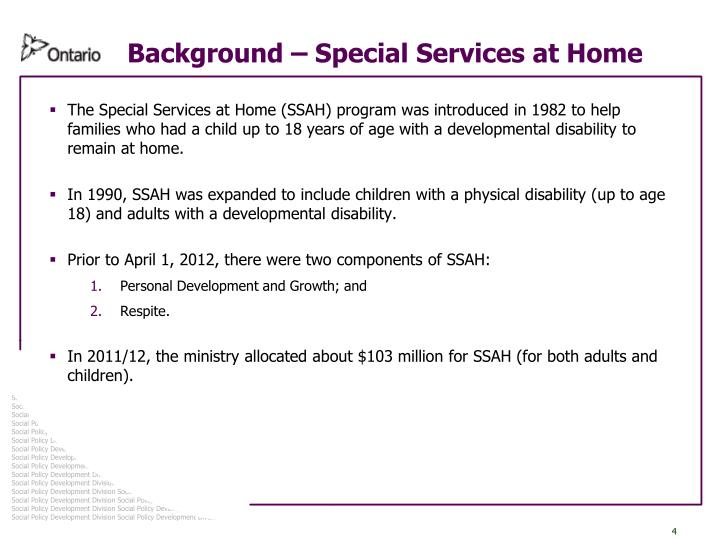 Background – Special Services at Home
