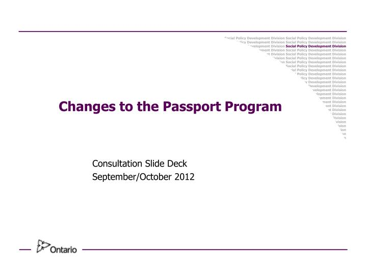 Changes to the passport program