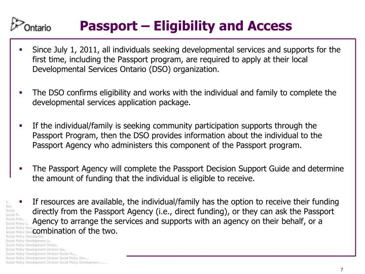 Passport – Eligibility and Access
