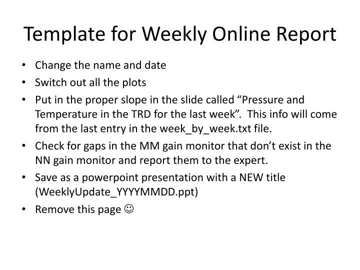 template for weekly online report n.