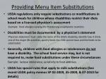 providing menu item substitutions