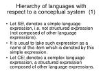 hierarchy of languages with respect to a conceptual system 1