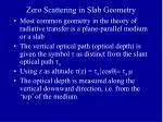 zero scattering in slab geometry