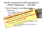 14th af assessment of gps operations in iraq afghanistan feb 2006
