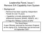 leadership panel issue 1 remove s a capability from system