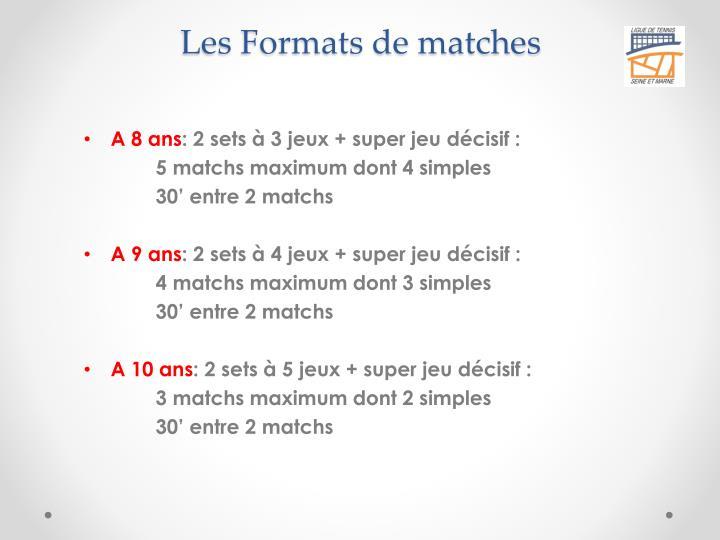 Les Formats de matches
