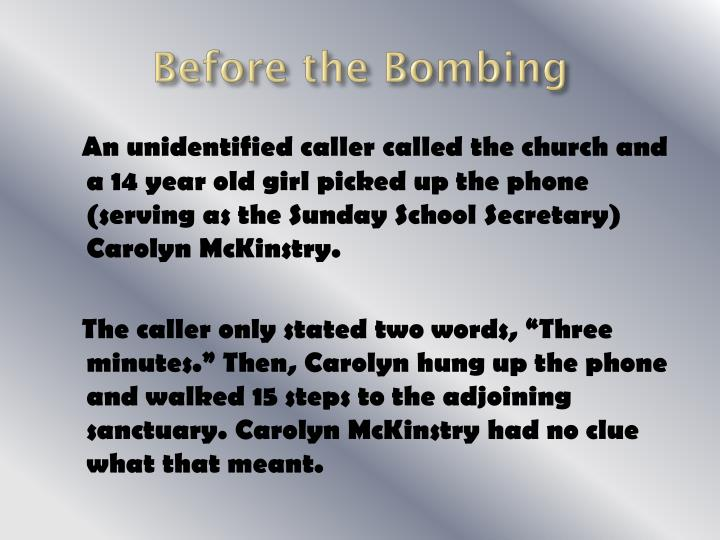 Before the Bombing