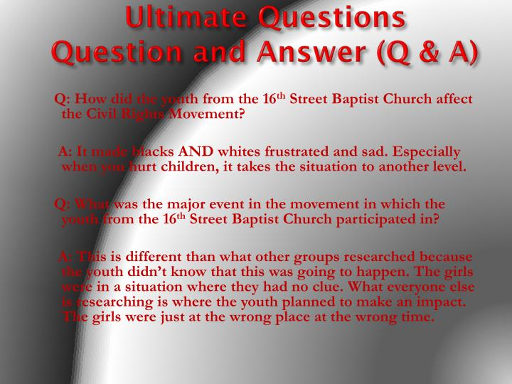 Ultimate questions question and answer q a