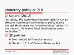 monetary policy at zlb