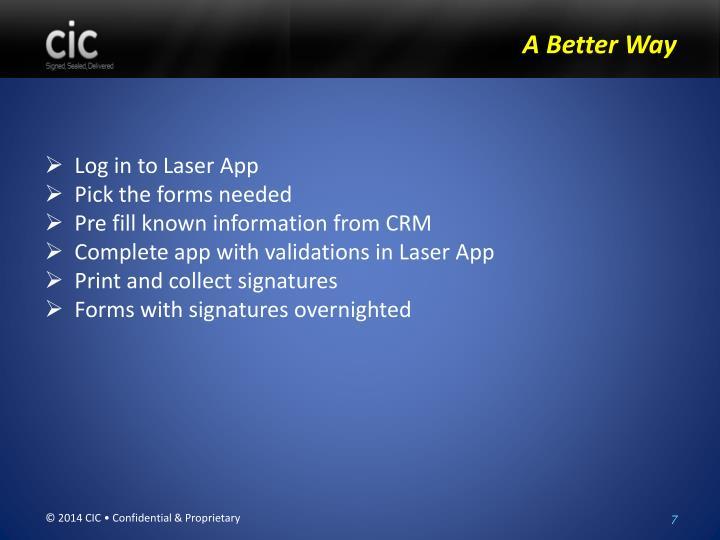 Log in to Laser App