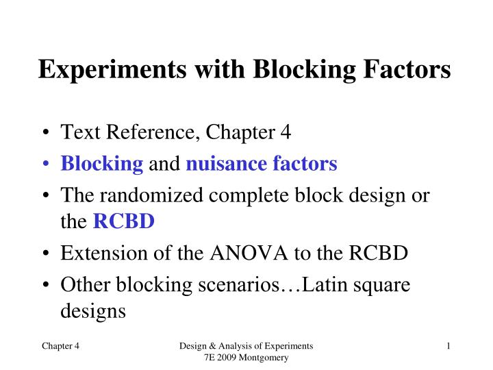 experiments with blocking factors n.